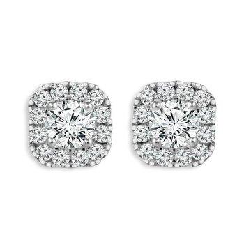 14KW Diamond Halo Earrings