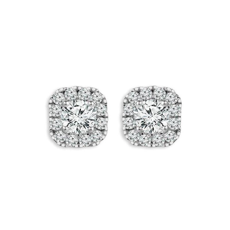 Showcase Collection 14KW Diamond Halo Earrings