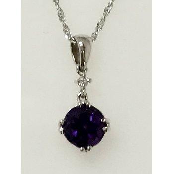 Amethyst Pendant with Diamond Accent
