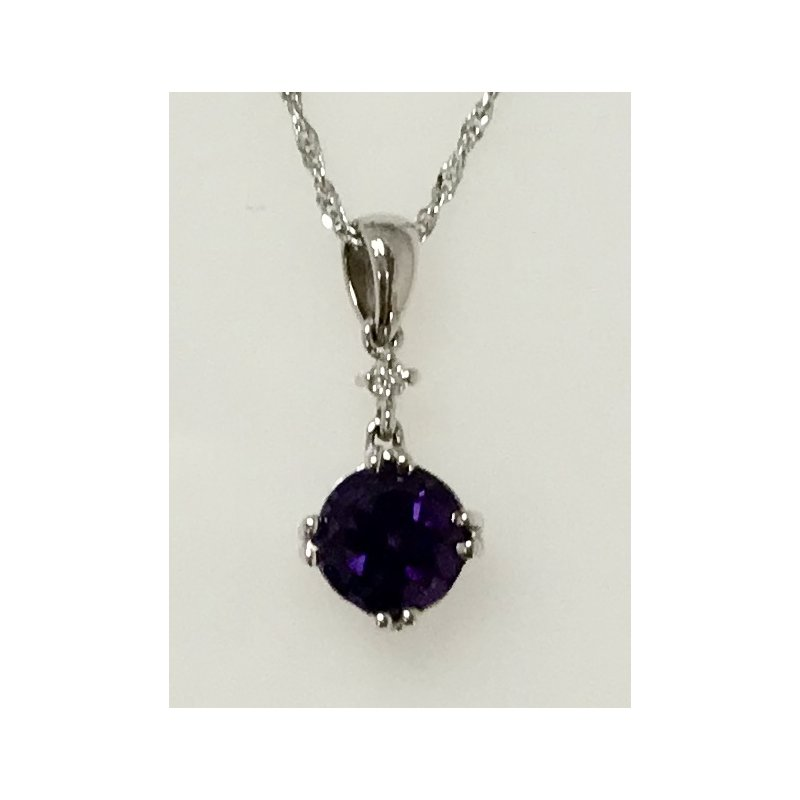Showcase Collection Amethyst Pendant with Diamond Accent