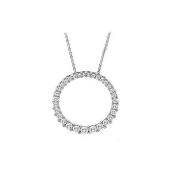 Diamond Circle Pendant in White Gold  0.75 ctw