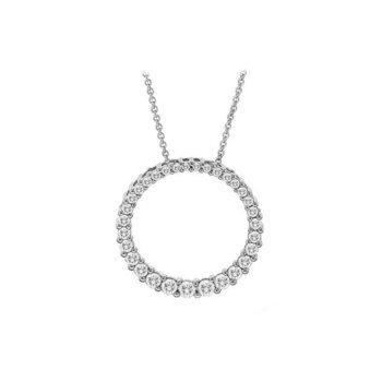 Diamond Circle Pendant in White Gold  0.75 ctw