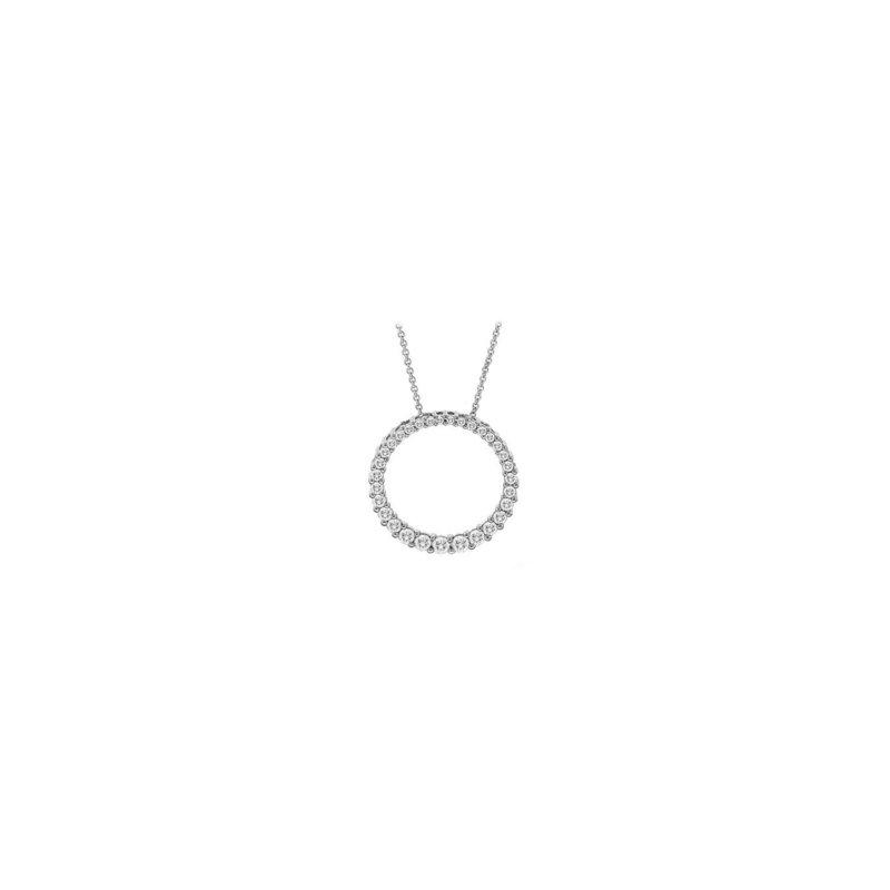 Grandis Signature Diamond Circle Pendant in White Gold  0.75 ctw