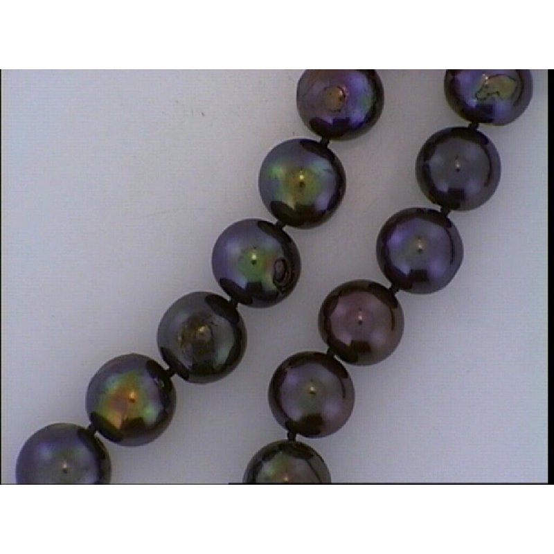 """Grandis Signature 23"""" 10.5-11mm Dyed Black Fresh Water Pearl With 14K Yellow Gold Clasp"""