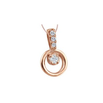 10KR Circle Necklace with Diamond Accent