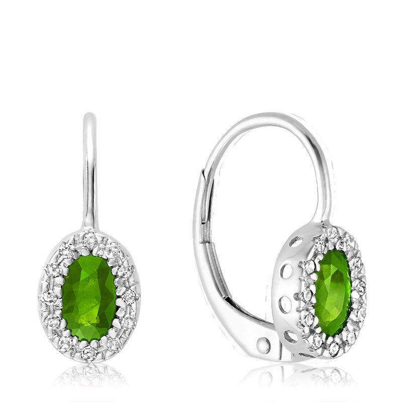 Showcase Collection Peridot Earrings with Diamond Accents