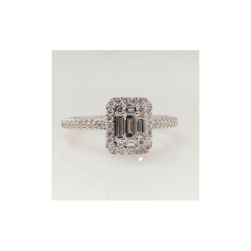 Showcase Collection 14KW Emerald Cut Multi Stone Ring
