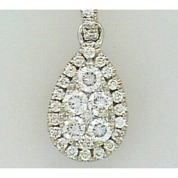 14KW Tear Drop Pendant with Diamond Accents