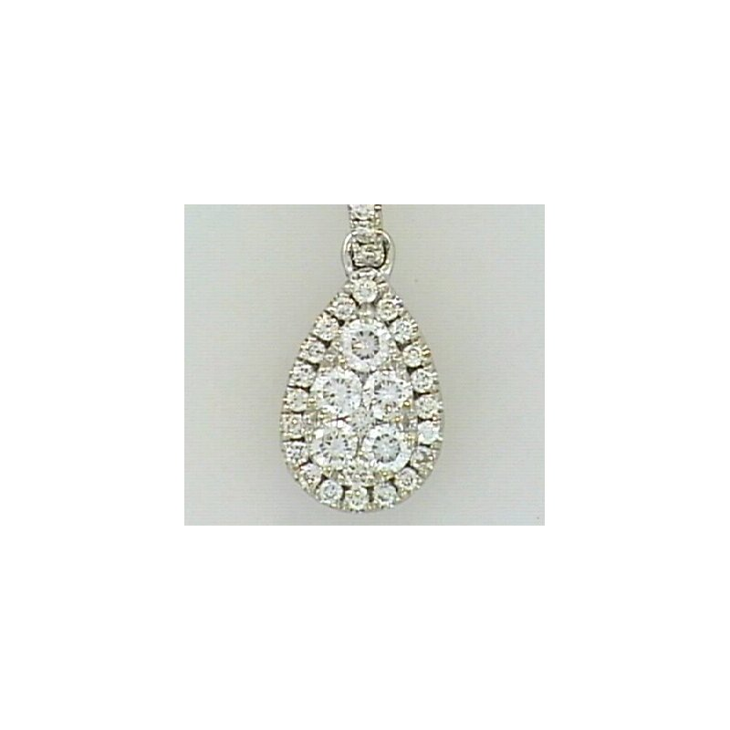 Showcase Collection 14KW Tear Drop Pendant with Diamond Accents