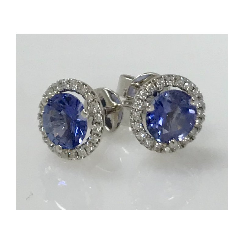 Showcase Collection Sapphire and Diamond Halo Earrings