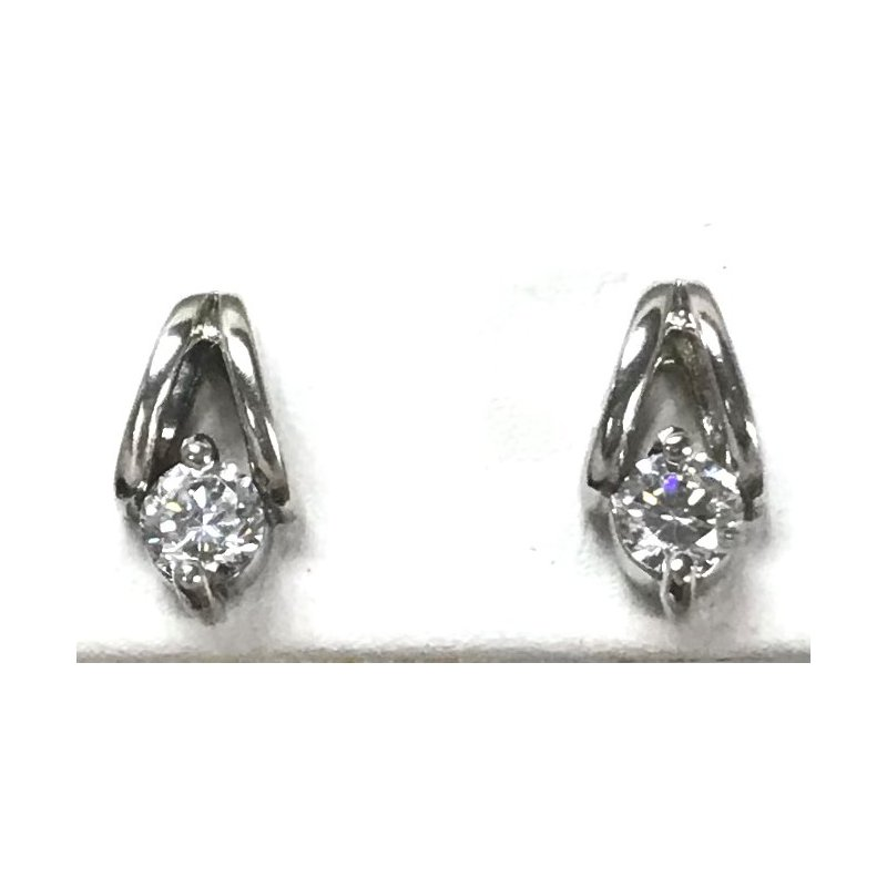 Estate Specials Sterling Silver CZ Stud Earrings