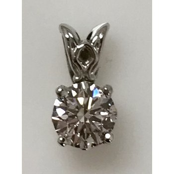 14KW Solitaire Diamond Pendant