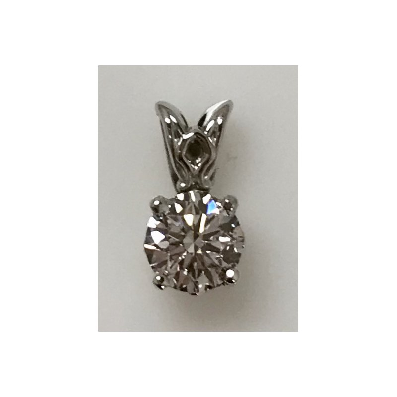 Showcase Collection 14KW Solitaire Diamond Pendant