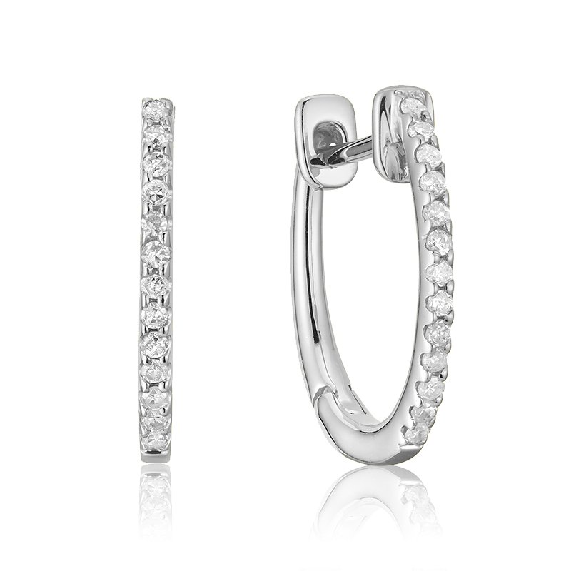 Showcase Collection 14KW Diamond Huggy Earrings