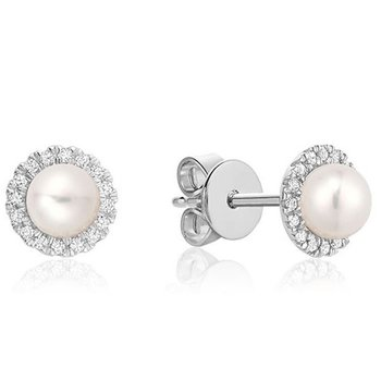 10KW Pearl Earrings with Diamond Halo