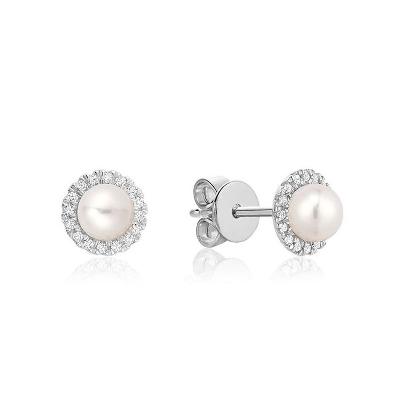 Showcase Collection 10KW Pearl Earrings with Diamond Halo