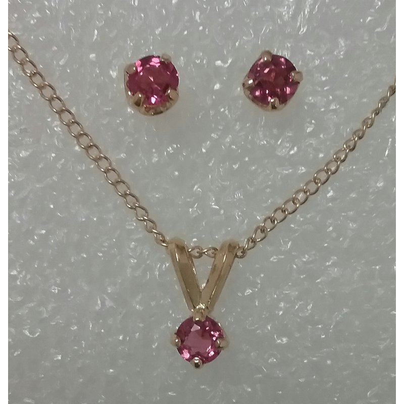 Estate Specials 14k Pink Tourmaline Pendant and Earring Set