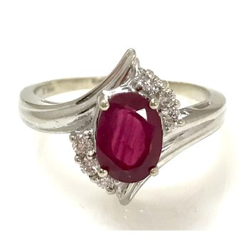 14KW Synthetic Ruby and Diamond By-pass Ring