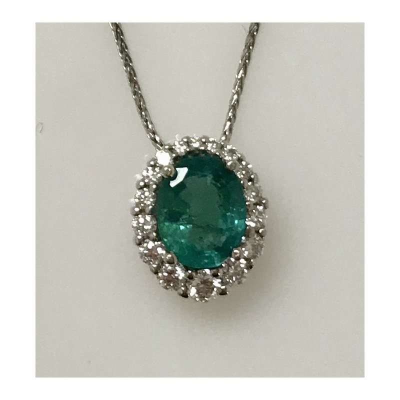 Showcase Collection Emerald Slide with Diamond Halo