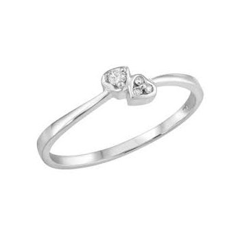 10KW Double Heart Ring with Diamond Accents