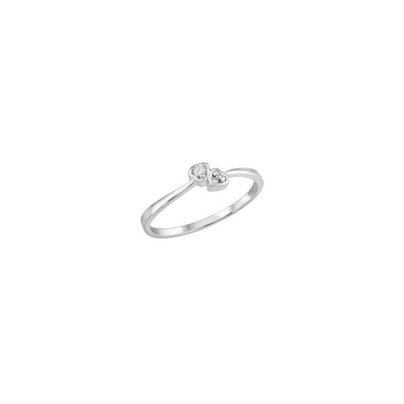Showcase Collection 10KW Double Heart Ring with Diamond Accents