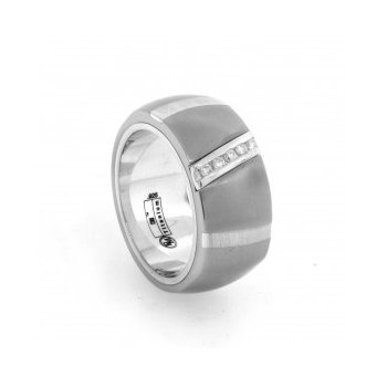 Gent's Titanium Ring with Diamond Accents