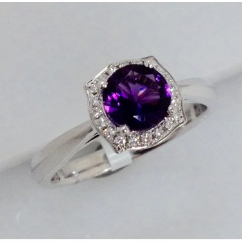 Diamond Halo Amethyst Ring
