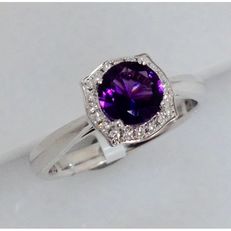 Showcase Collection Diamond Halo Amethyst Ring