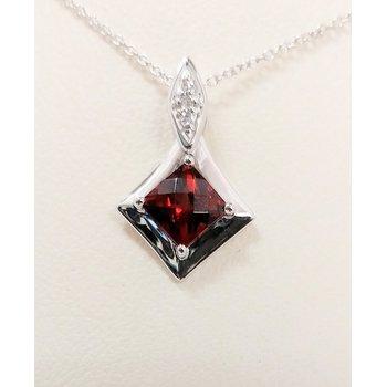 Garnet Pendant with Diamond Accents