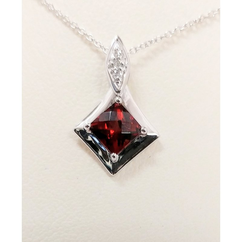 Showcase Collection Garnet Pendant with Diamond Accents
