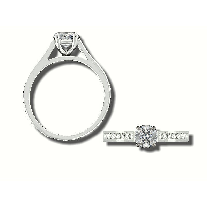 Grandis Signature Grandis Diamond Solitaire Engagement Ring Mount 14K Prong Set 0.30 ctw GJRA902