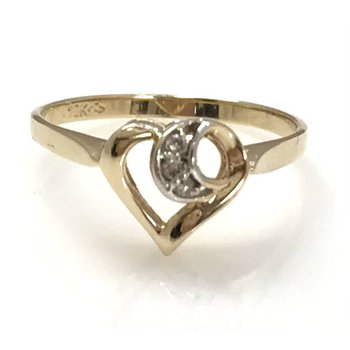 10KY Heart Ring with Diamond Accent