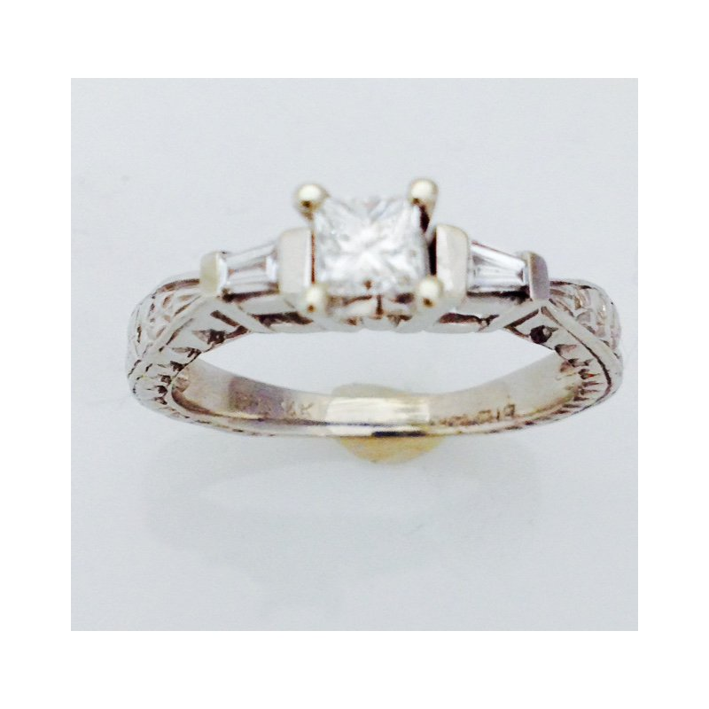 Showcase Collection 14KW Engagement Ring with Princess Center Stone