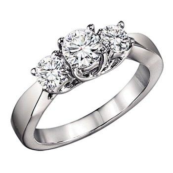 1 ctw Three Stone Diamond Ring in 14K White Gold/3C358