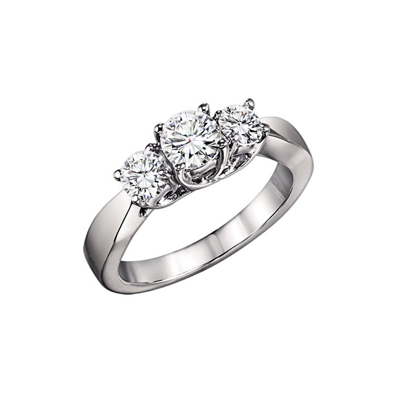Grandis Signature 1 ctw Three Stone Diamond Ring in 14K White Gold/3C358