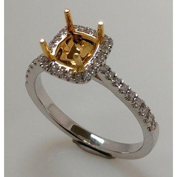 Semi Set Halo Engagement Ring