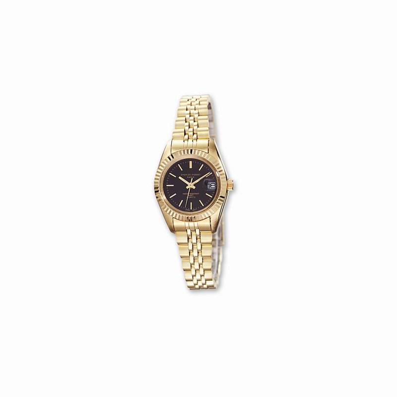 Charles Hubert IP Gold Plated Watch with Black dial
