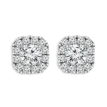 14KW Diamond Halo Stud Earrings