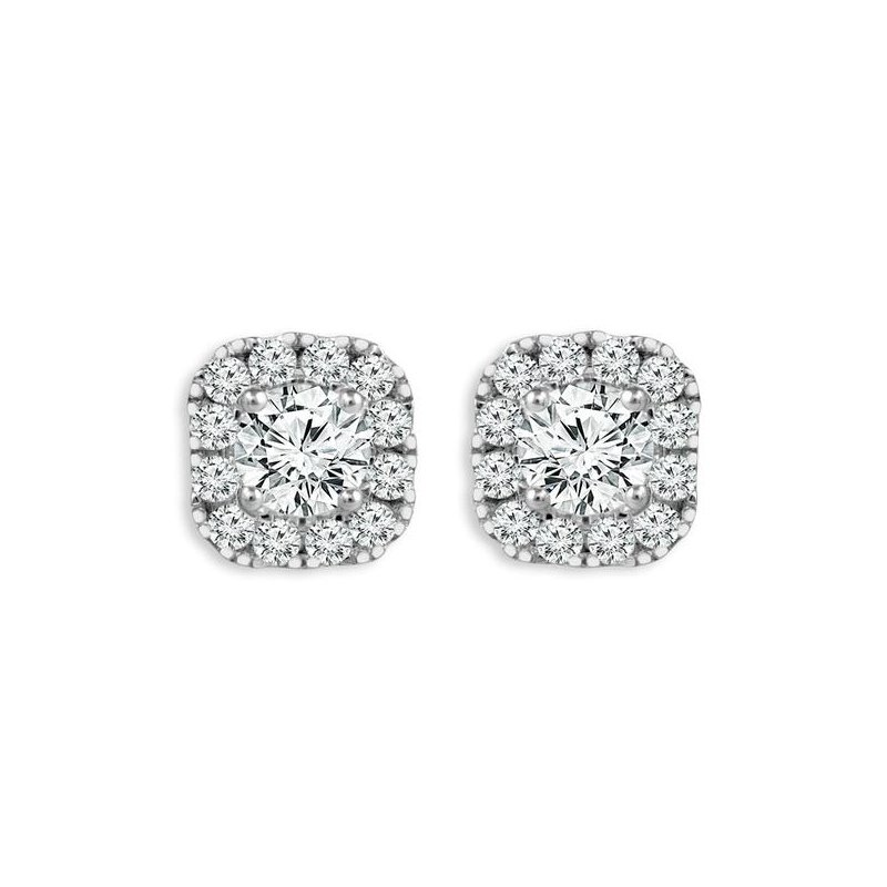 Showcase Collection 14KW Diamond Halo Stud Earrings