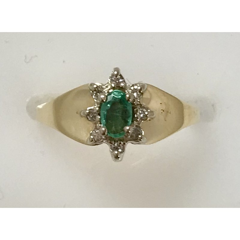 Estate Specials 10KY Emerald Cluster Ring