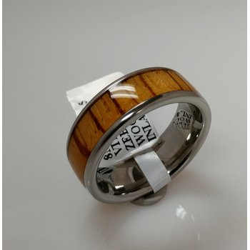 Vitalium Ring with Zebra Wood Inlay