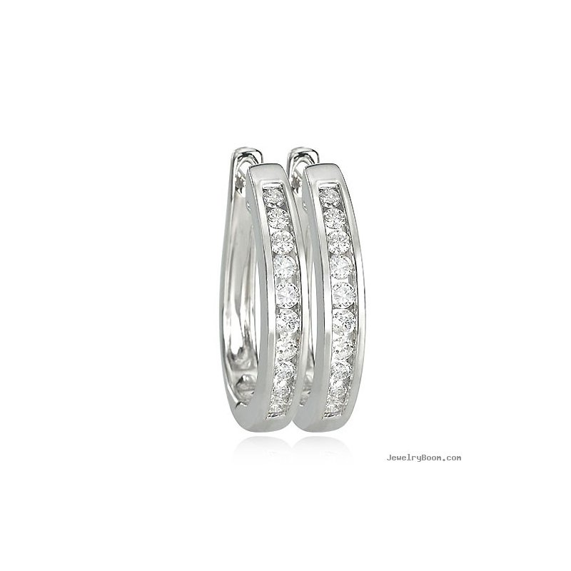 Grandis Signature 14K White Gold 0.50 Carat Total Weight Diamond Hoops