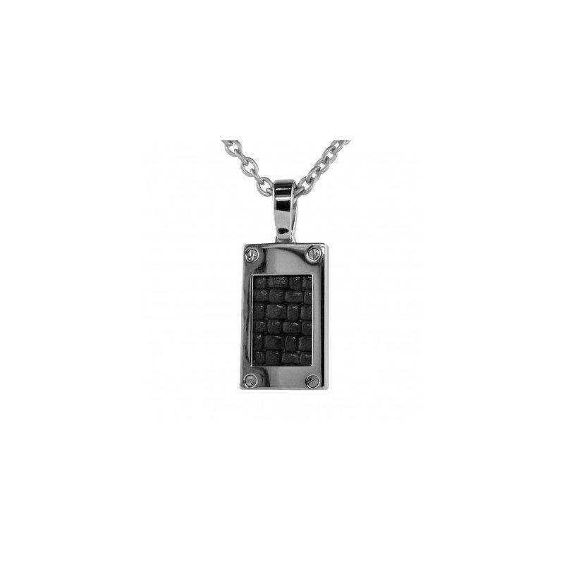 Estate Specials Gent's Titanium and Black Leather Pendant