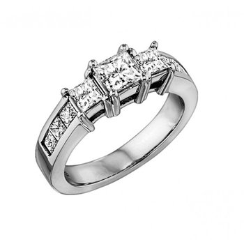 Three Stone Princess Cut Diamond Ring with Accent Diamonds 0.50 ctw