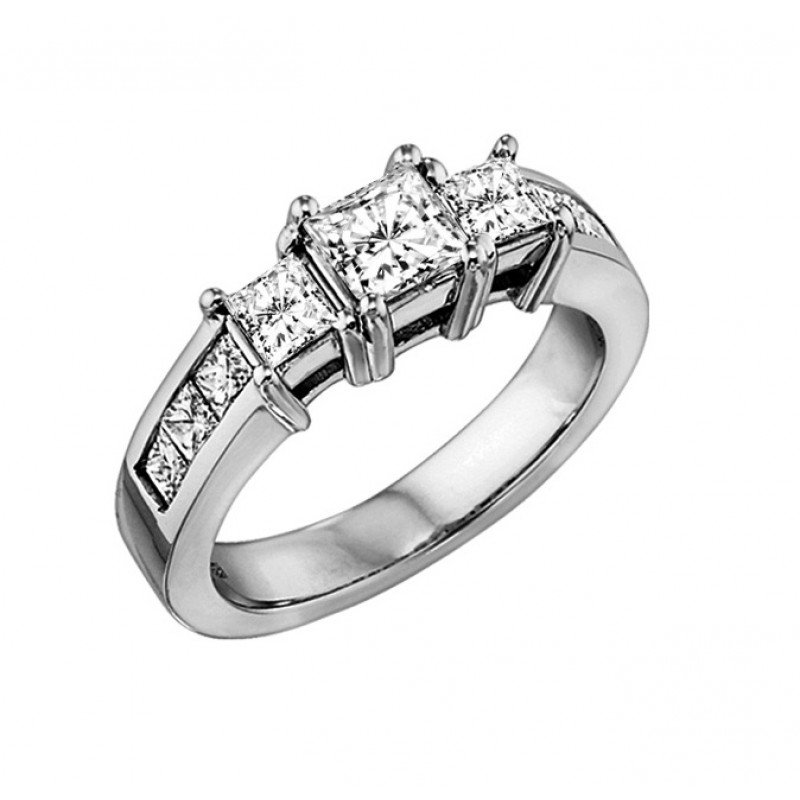 Grandis Signature Three Stone Princess Cut Diamond Ring with Accent Diamonds 0.50 ctw