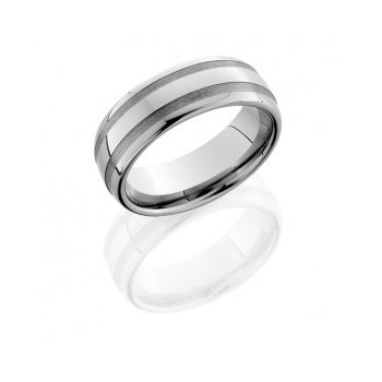 Tungsten Carbide Half Round Ring with Stripes