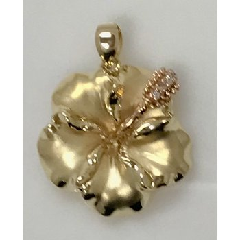 Hibiscus Flower Pendant with CZ