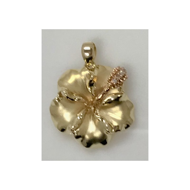 Estate Specials Hibiscus Flower Pendant with CZ