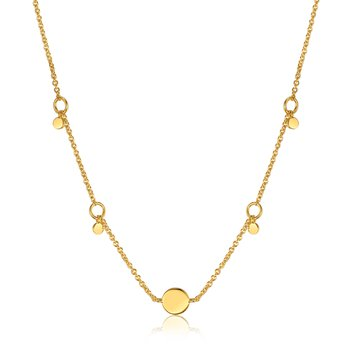 14k plated Geometry Drop Disc Necklace