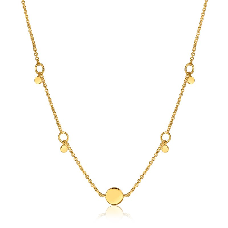 ANIA HAIE 14k plated Geometry Drop Disc Necklace